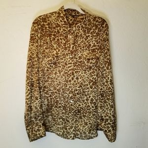 Anne Klein silky animal print with rollup sleeves